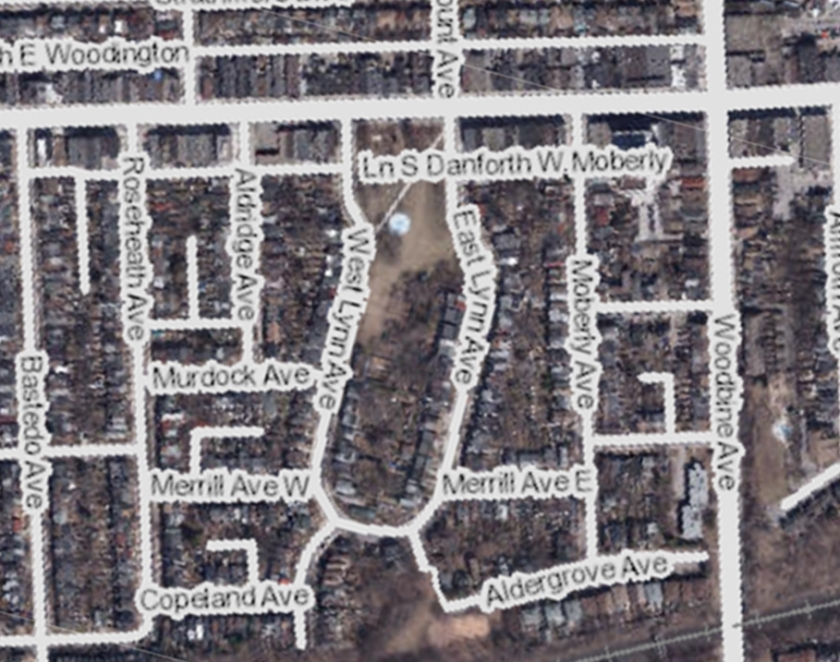 danforth-woodbine-park-city-of-toronto-interactive-map-aerial-2015-with-labels