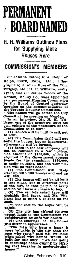 globe-february-9-1919-toronto-housing-commission