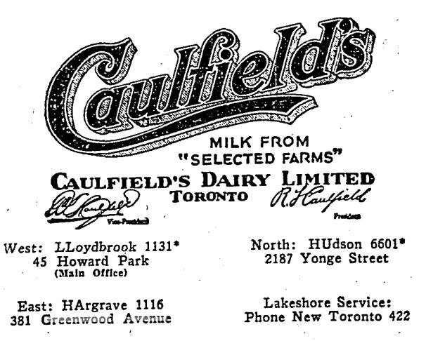 19301224TS Caulfields Dairy 381 Greenwood Ave