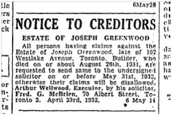 19320507TS Estate of Joseph Greenwood builder