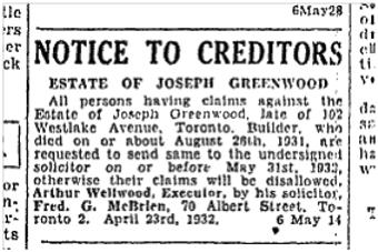 19320507TS Estate of Joseph Greenwood builder