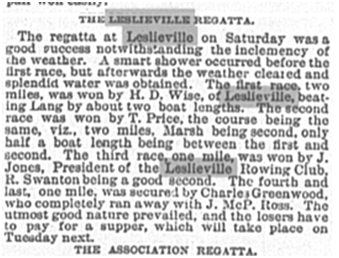 Charles Greenwood wins regatta Globe June 14 1880