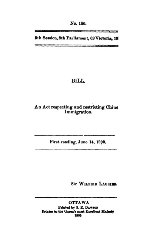 Bill an act respecting and restricting Chinese immigration, 1900