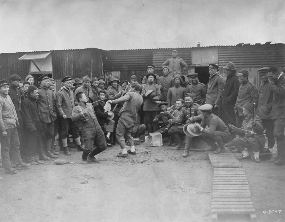 Chinese Labour Battalions in France celebrating the Chinese New Year on Feb, 11, 1917, NARCH