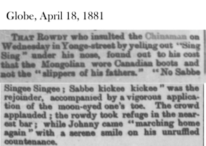 Globe, April 18, 1881 Chinese man fights back