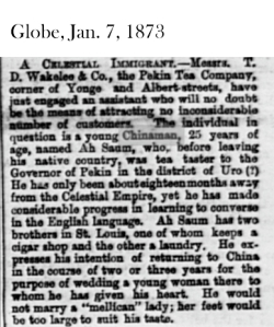 Globe, Jan. 7, 1873 Tea merchant Toronto