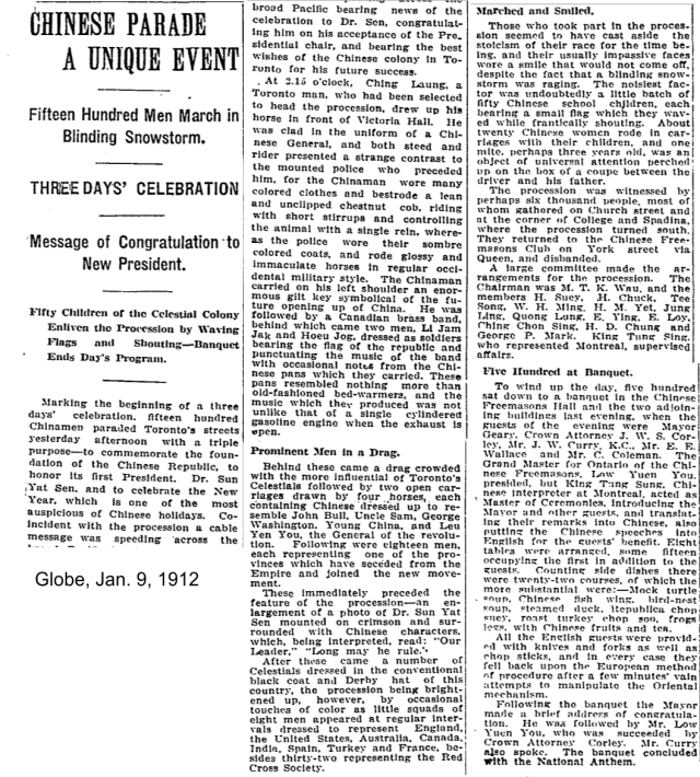 Globe, Jan. 9, 1912 article about parade