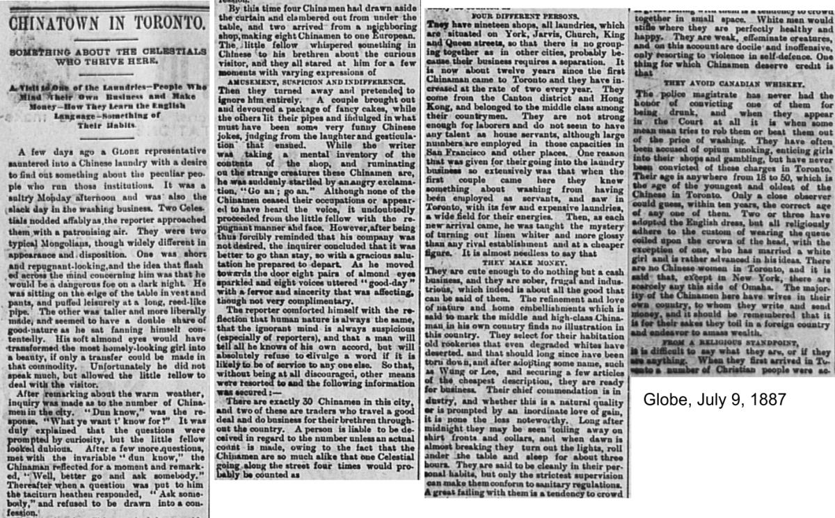 Globe, July 9, 1887 Description Toronto Chinatown1