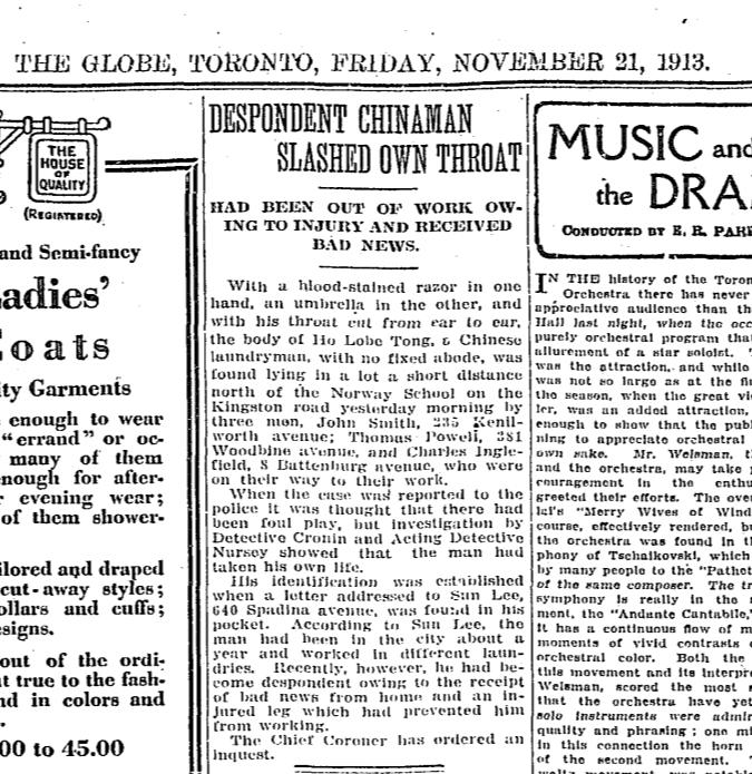 Globe, November 21, 1913 Suicide Kingston Road