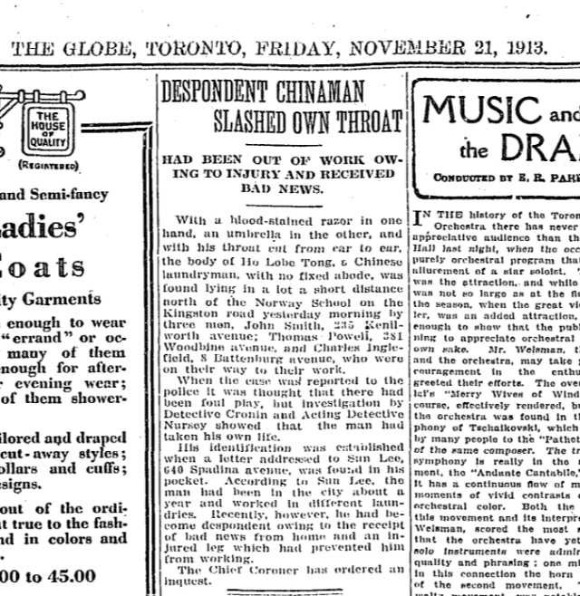 Globe, November 21, 1913 Suicide Kingston Road