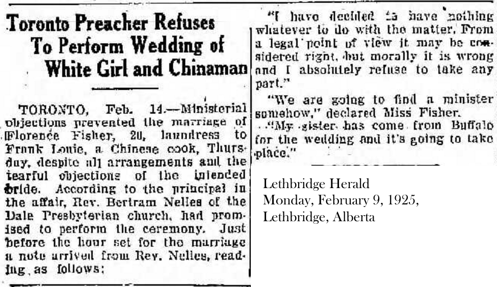 Lethbridge Herald, Feb. 9, 1925 Minister refuses to marry couple