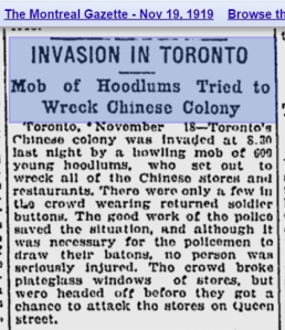 Montreal Gazette, Nov. 19, 1919 Mob attacks Chinatown