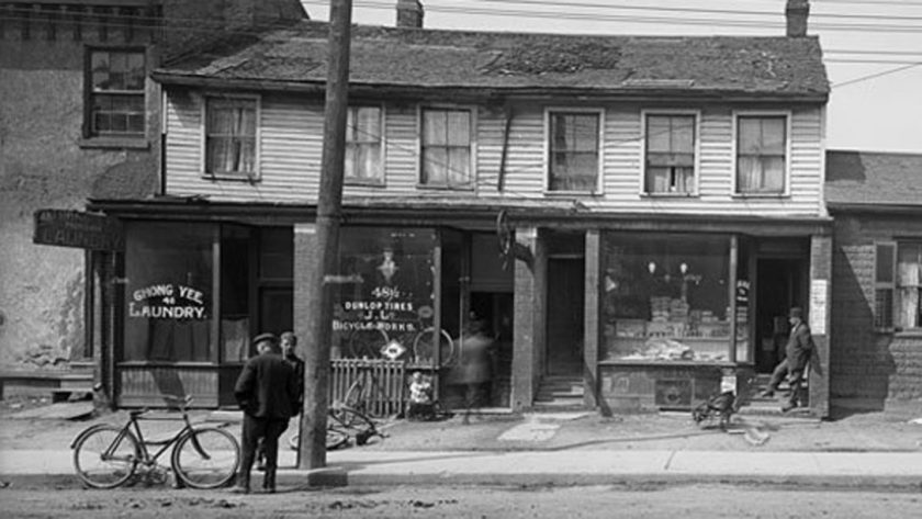 Mr. Lee Hong's laundry at 48 Elizabeth St 1912 City of Toronto Archives