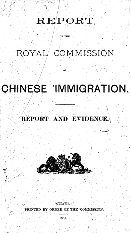 Report of the Royal Commission on Chinese Immigration 1885 Title