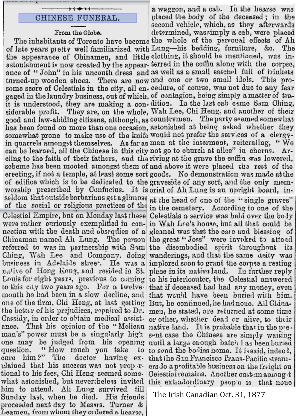 The Irish Canadian, Oct. 31, 1877 Ah Lung's funeral Toronto1