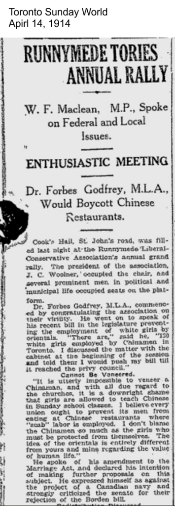 Toronto Sunday World, April 14, 1914 Chinese restaurants and women