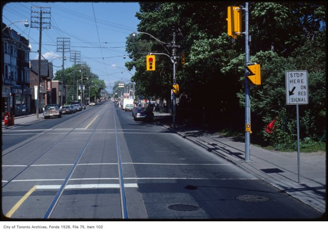 View of Queen Street East at Greenwood Avenue