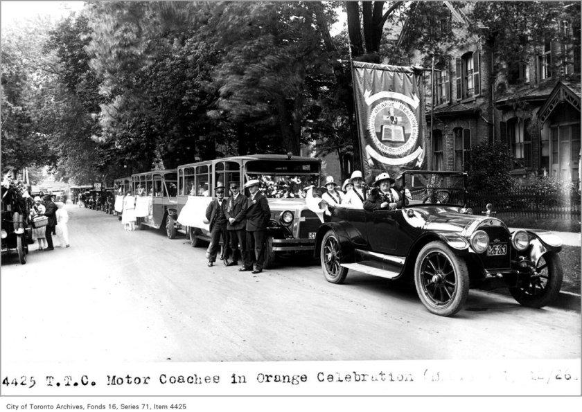T.T.C. motor coaches, in Orange celebration, (Motor Coach Department)