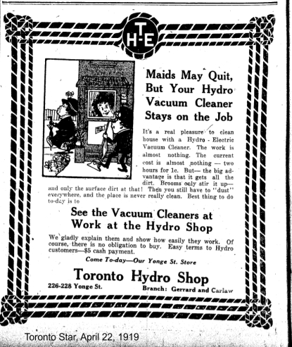Toronto Star, April 22, 1919 Maids may quit