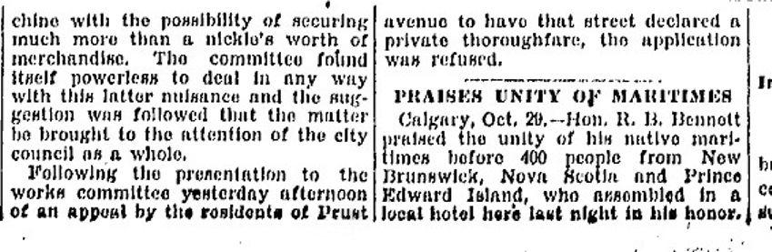 Toronto Star, Oct. 29, 1927 Prust