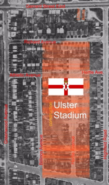 Ulster Stadium map