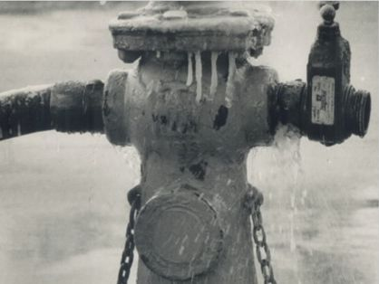 Detail. Chilling scene: Water freezes as it sprays from fire hydrant in Toronto yesterday. Stawicki, Andrew Picture, 1988, Toronto Star License Toronto Public Library