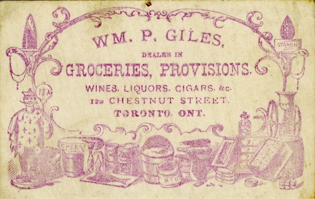1876 TPL Grocers trade card