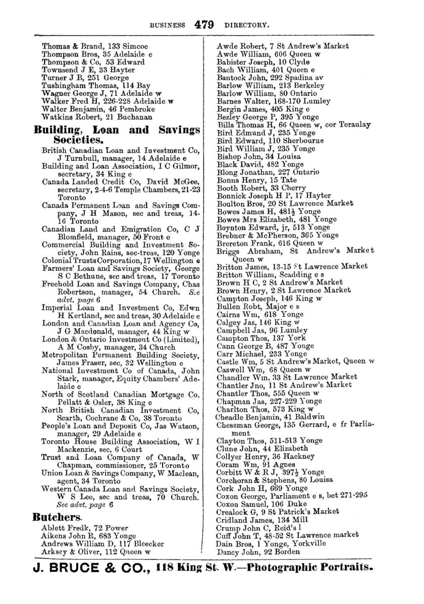 1878 City of Toronto Directory Butchers1