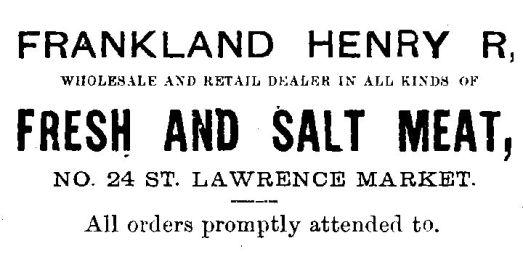 1878 City of Toronto Directory Frankland