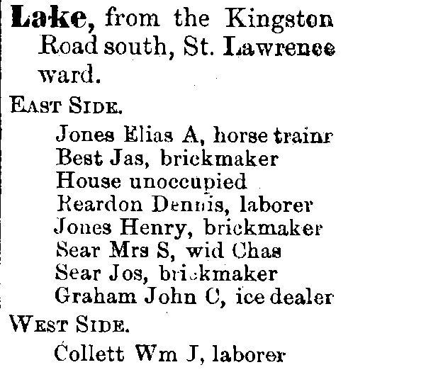 1878 City of Toronto Directory Lake St