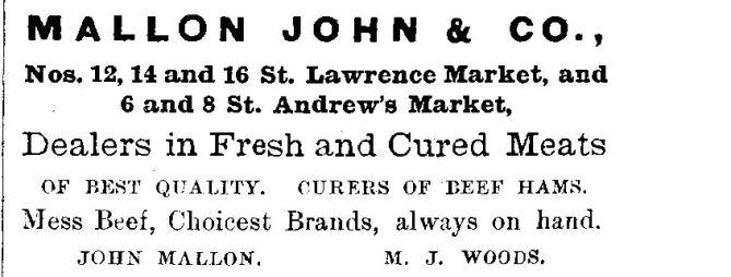 1878 City of Toronto Directory Mallon ad