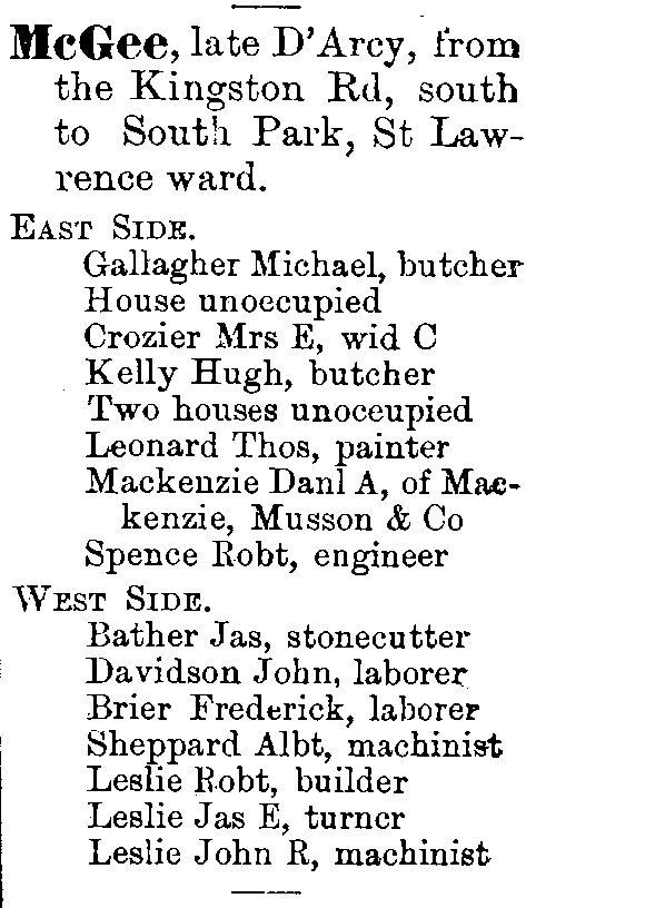 1878 City of Toronto Directory McGee St