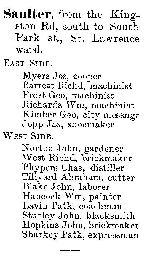 1878 City of Toronto Directory Saulter St