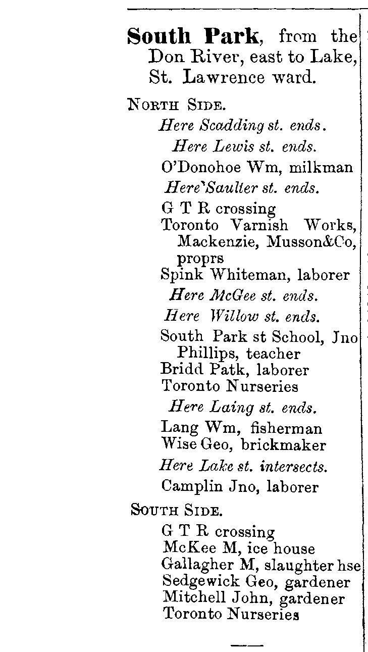 1878 City of Toronto Directory South Park St