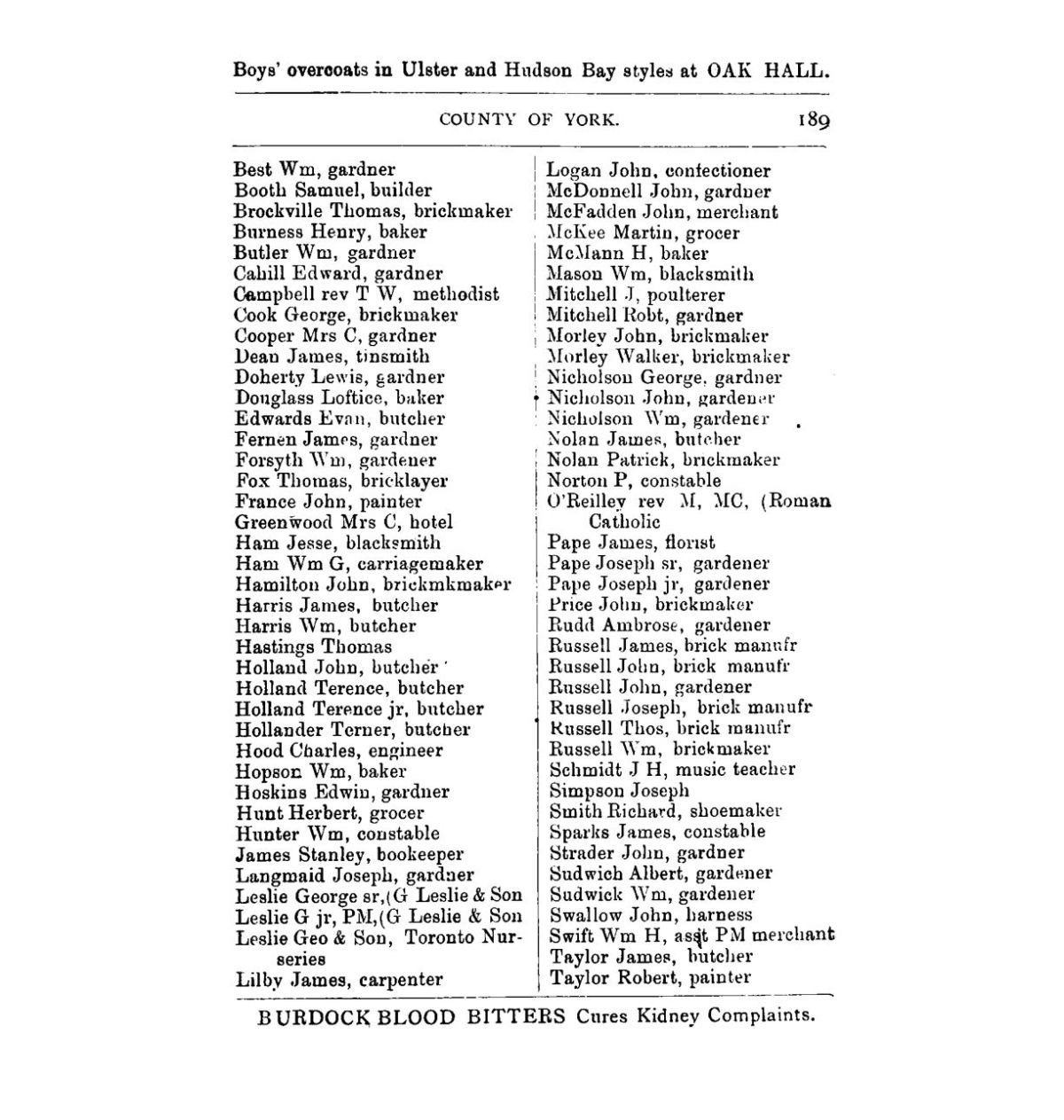 1882 County of York Directory and Gazeteer L2