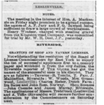 18820420GL Greenwood Tavern Leslieville