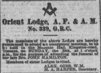 Globe, April 29, 1882 Orient Lodge Founded July 14, 1876