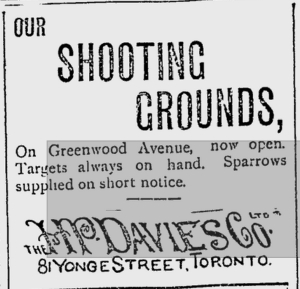 18921205 Toronto Daily Mail Shooting Grounds HP Davies