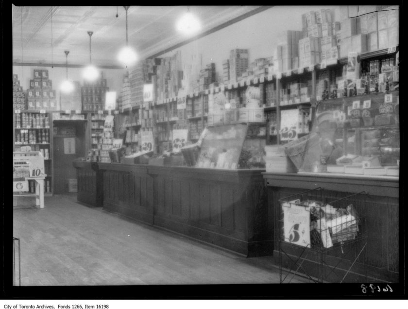 Dominion store, 213 Wellesley St, grocery section. - April 15, 1929
