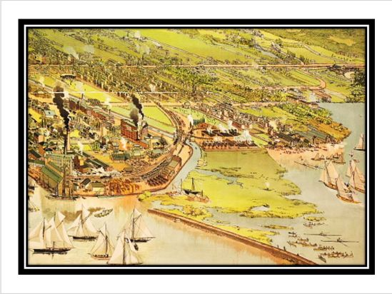 1893 Barclay, Clark & Co. Bird's Eye View Chromolithograph. Detail of Toronto's East End showing the industrialization at the mouth of the Don and along Eastern Avenue.