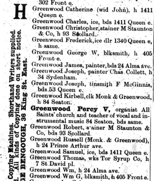 City Directory (Toronto R.L. Polk & Co., 1888), p. 580
