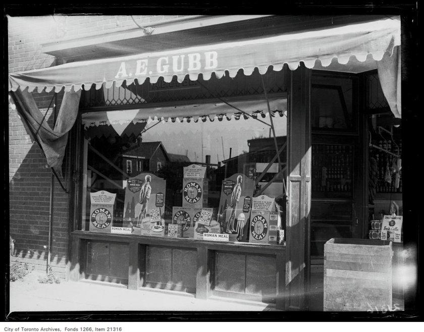 [A.E.] Gubb Brothers, 370 Rhodes Avenue, Roman Meal window.