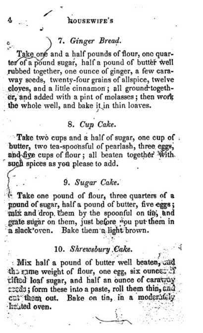 Cake recipes from the Frugal Housewife, 1840