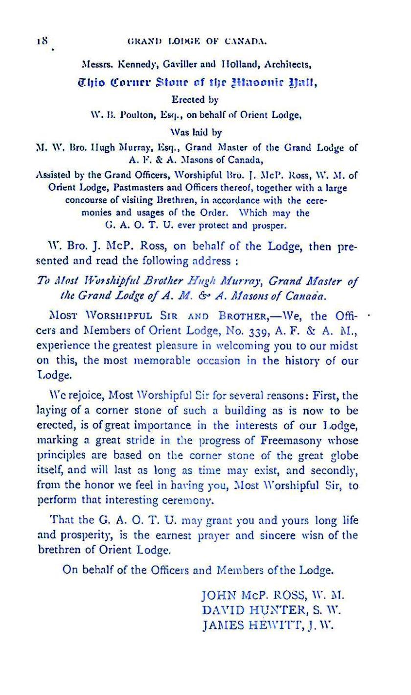 Grand Lodge of Canada 1885 18