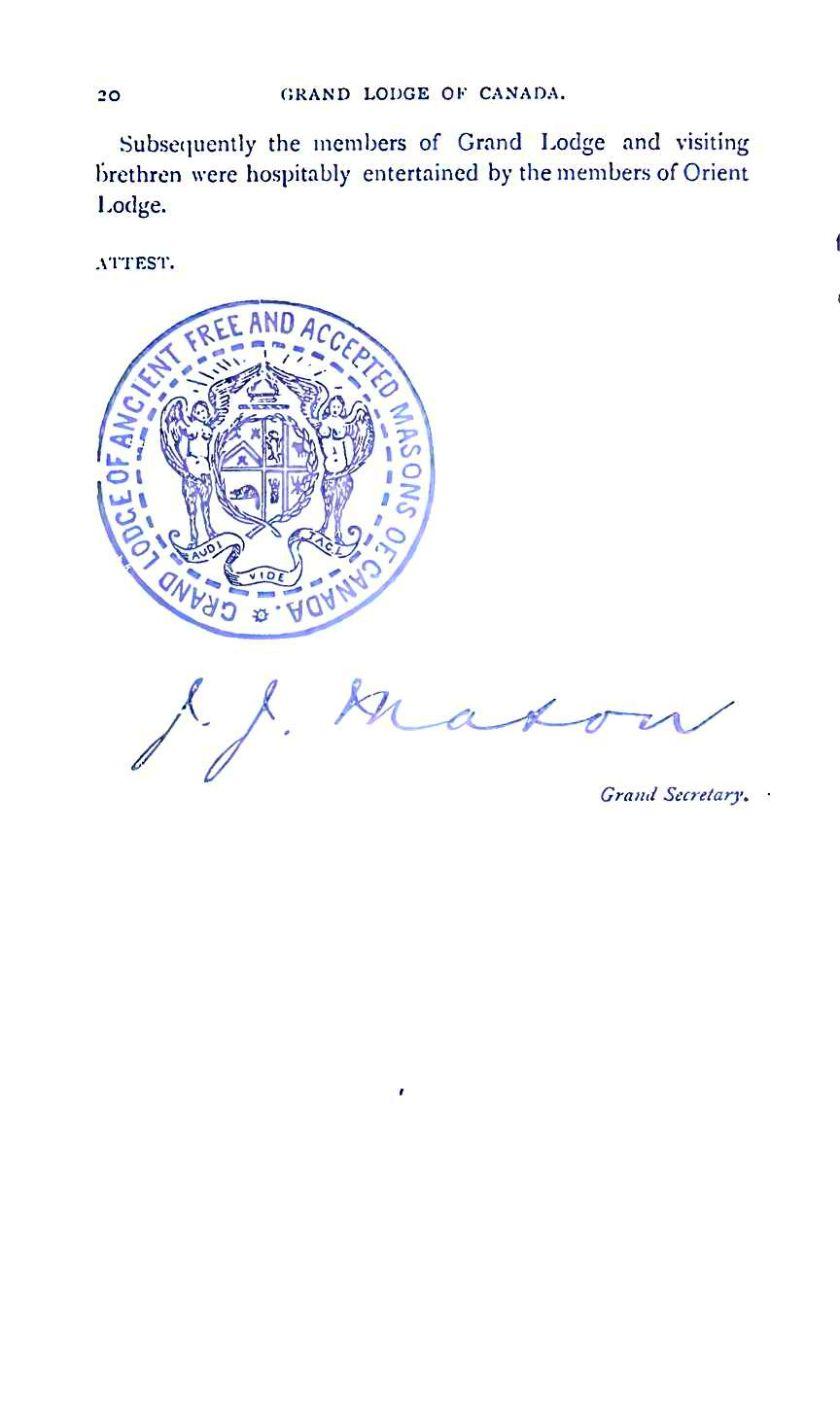 Grand Lodge of Canada 1885 20