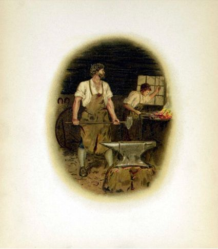 Illustration from Henry Wadsworth Longfellow, The Village Blacksmith. London: Castell Brothers, between 1888 and 1892? From The Toronto Public Library Digital Archives.