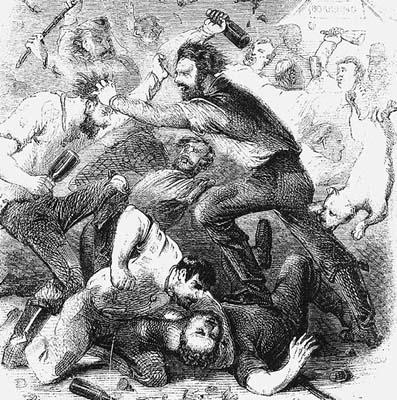 Bar room brawl. Public domain