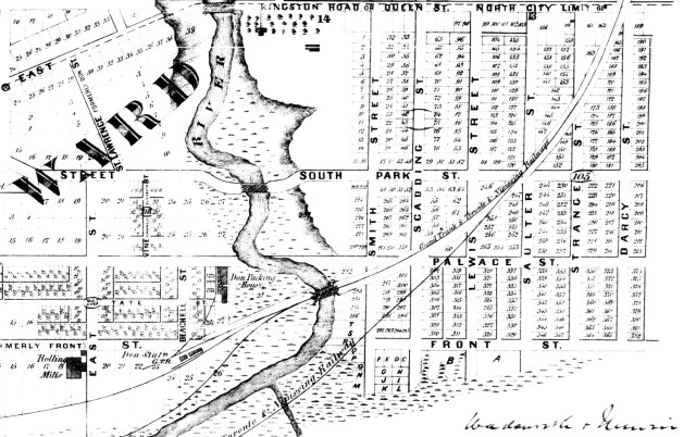 Map, 1872, showing the Smith home and orchard, south of Queen Street and just east of the bridge over the Don River.