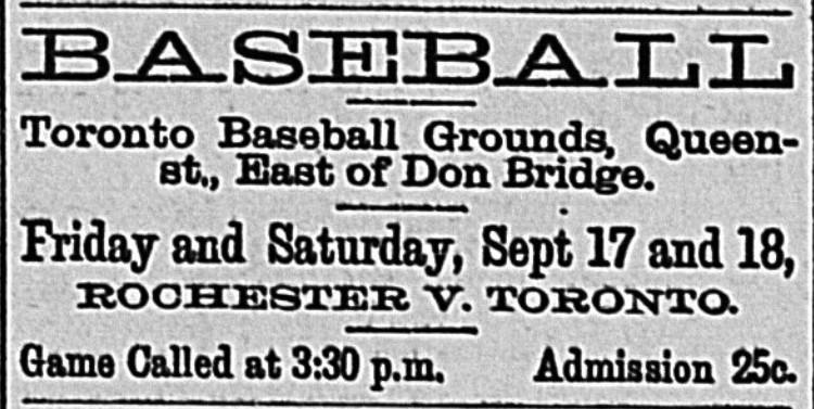 18860918 GL ad Toronto Baseball Grounds