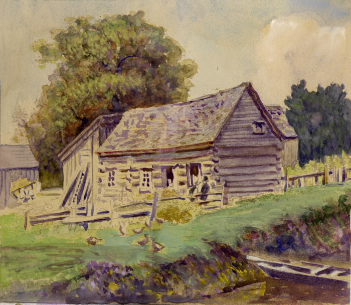 Scadding, John, cabin, Don R., e. side, s. of Queen St. E., 1888, artist unknown, TPL